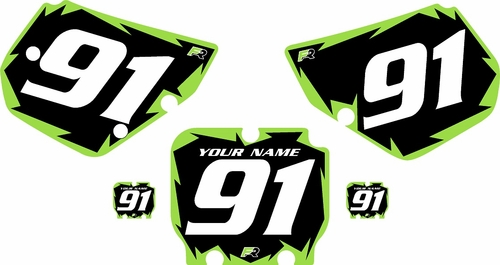 1990-1991 Kawasaki KX250 Pre-Printed Backgrounds Black - Green Shock Series by FactoryRide