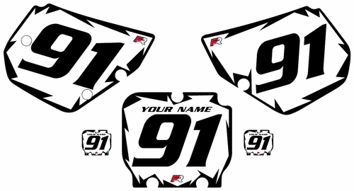 1990-1991 Kawasaki KX250 White Pre-Printed Backgrounds - Black Shock Series by Factory Ride
