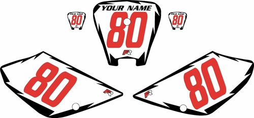 2001-2003 Honda XR100 Pre-Printed Backgrounds White - Black Shock - Red Numbers by FactoryRide