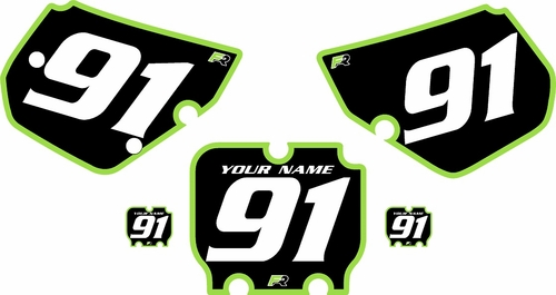1990-1991 Kawasaki KX250 Pre-Printed Backgrounds Black - Green Bold Pinstripe by FactoryRide