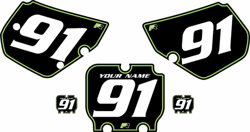 1990-1991 Kawasaki KX250 Pre-Printed Backgrounds Black - Green Pinstripe by FactoryRide