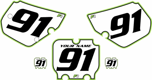 1990-1991 Kawasaki KX250 Custom Pre-Printed Background White - Green Pro Pinstripe by Factory Ride