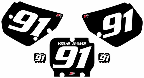1990-1991 Kawasaki KX250 Black Pre-Printed Backgrounds - White Numbers by Factory Ride