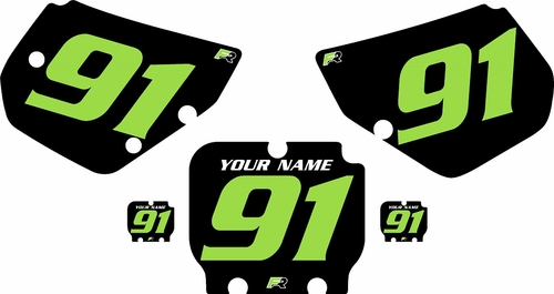 1990-1991 Kawasaki KX250 Pre-Printed Backgrounds Black - Green Numbers by FactoryRide