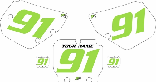 1990-1991 Kawasaki KX250 Pre-Printed Backgrounds White - Green Numbers by FactoryRide