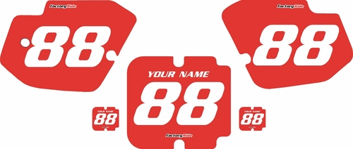 1988-1989 Kawasaki KX125 Custom Pre-Printed Background Red - White Numbers by Factory Ride