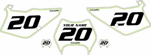 1997-2005 Kawasaki KDX220 Pre-Printed Backgrounds White - Green Pinstripe by FactoryRide