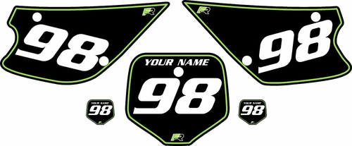 1998-2000 Kawasaki KX80 Pre-Printed Backgrounds Black - Green Pinstripe by FactoryRide