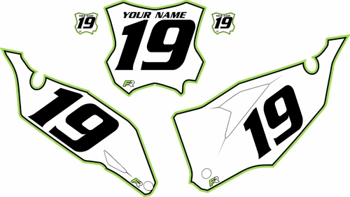 2019-2020 Kawasaki KX450F Custom Pre-Printed Background White - Green Pro Pinstripe by Factory Ride