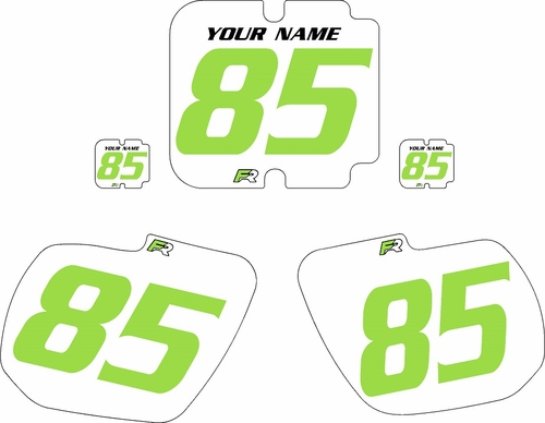 1985-1986 Kawasaki KX250 Custom Pre-Printed Background White - Green Numbers by Factory Ride
