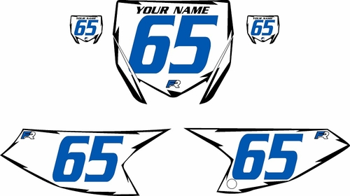 2018-2020 Yamaha YZ65 White Pre-Printed Backgrounds - Black Shock - Blue Number by FactoryRide