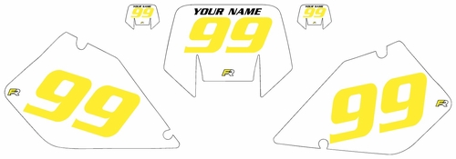 1996-2001 Suzuki RMX250 Pre-Printed Backgrounds White - Yellow Numbers by FactoryRide