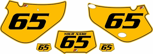 2000-2009 Honda XR650R Pre-Printed Backgrounds Yellow - Black Pinstripe by FactoryRide