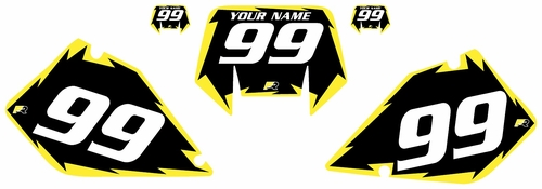 1996-2001 Suzuki RMX250 Pre-Printed Backgrounds Black - Yellow Shock Series by FactoryRide