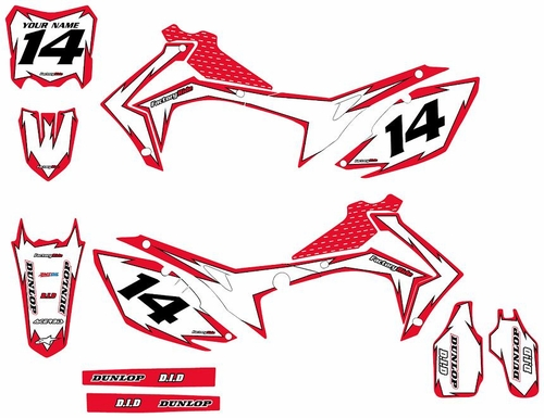 2013-2016 Honda CRF450 Full Graphics Kit  - Red/White Shock Series by Factory Ride