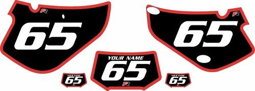 2000-2009 Honda XR650R Custom Black Pre-Printed Background - Red Bold Pinstripe by Factory Ride
