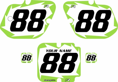 1987 Kawasaki KX250 Custom Pre-Printed Background White - Green Shock by Factory Ride
