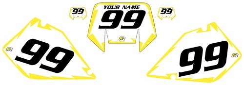 1996-2001 Suzuki RMX250 Pre-Printed Backgrounds White - Yellow Shock Series by FactoryRide