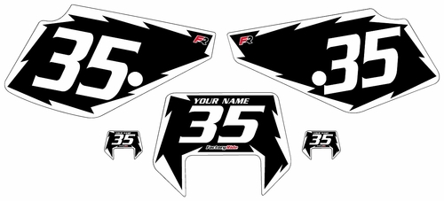 1990-2001 Suzuki DR350 Black Pre-Printed Backgrounds - White Shock Series by Factory Ride