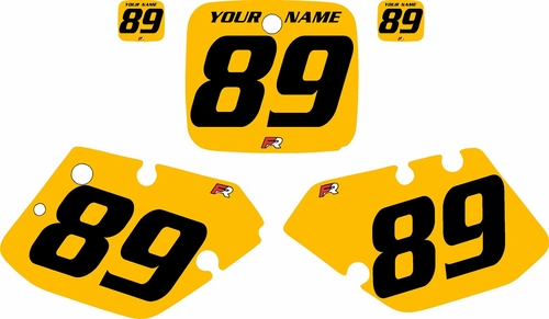 1989-1990 Yamaha YZ125 Custom Pre-Printed Yellow Background - Black Numbers by Factory Ride