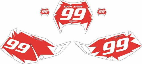 1997-2008 Kawasaki KLX300 Custom Pre-Printed Background Red - White Shock Series by Factory Ride