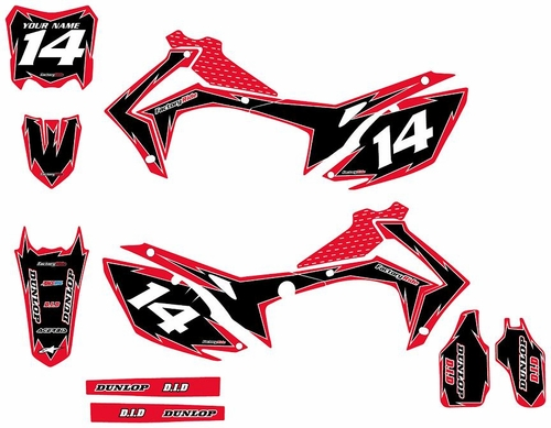 2014-2016 Honda CRF250 Full Graphics Kit  - Red/Black Shock Series by Factory Ride