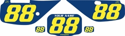 Fits Honda XR600 1988-2001 Blue Pre-Printed Backgrounds - Yellow Numbers by FactoryRide