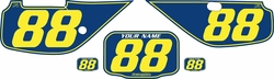 Fits Honda XR600 1988-2001 Blue Pre-Printed Backgrounds - Yellow Pinstripe by FactoryRide