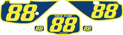 Fits Honda XR600 1988-2001 Blue Pre-Printed Backgrounds - Yellow Bold Pinstripe by FactoryRide