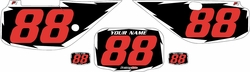 Fits Honda XR600 1988-2001 Pre-Printed Backgrounds Black - White Shock - Red Numbers by FactoryRide