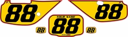 Fits Honda XR600 1988-2001 Pre-Printed Backgrounds Yellow - Red Pro Pinstripe by FactoryRide