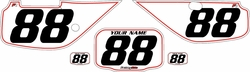Fits Honda XR600 1988-2001 Pre-Printed Backgrounds White - Red Pinstripe by FactoryRide