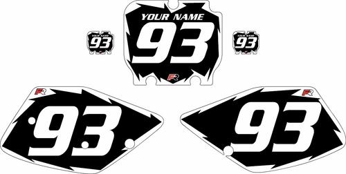 1992-1993 Kawasaki KX125 Black Pre-Printed Backgrounds - White Shock Series by Factory Ride