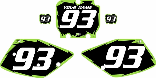 1992-1993 Kawasaki KX125 Pre-Printed Backgrounds Black - Green Shock Series by FactoryRide