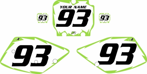 1992-1993 Kawasaki KX125 Pre-Printed Backgrounds White - Green Shock Series by FactoryRide