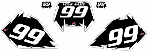 1996-2001 Suzuki RMX250 S Black Pre-Printed Backgrounds - White Shock Series by Factory Ride
