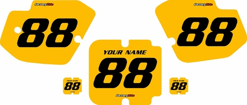 1988-1989 Kawasaki KX250 Custom Pre-Printed Yellow Background - Black Numbers by Factory Ride