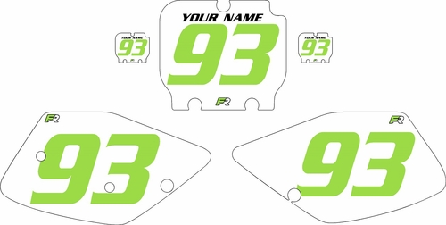 1992-1993 Kawasaki KX125 Pre-Printed Backgrounds White - Green Numbers by FactoryRide
