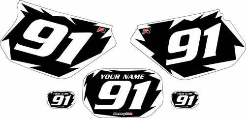 1991-2003 Yamaha DTR 125 Custom Black Pre-Printed Background - White Shock Series by Factory Ride