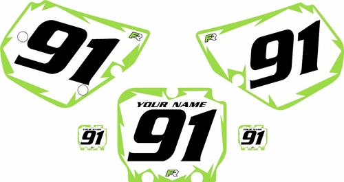1990-1991 Kawasaki KX125 Pre-Printed Backgrounds White - Green Shock Series by FactoryRide