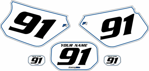 1991-2003 Yamaha DTR 125 Pre-Printed Backgrounds White - Blue Pinstripe by FactoryRide