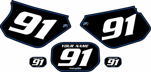 1991-2003 Yamaha DTR 125 Pre-Printed Backgrounds Black - Blue Pinstripe by FactoryRide