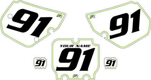 1990-1991 Kawasaki KX125 Pre-Printed Backgrounds White - Green Pinstripe by FactoryRide