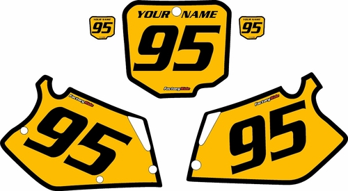 1995-1997 Honda CR125 Pre-Printed Backgrounds Yellow - Black Bold Pinstripe by FactoryRide