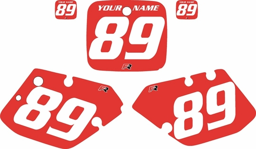 1989-1990 Yamaha YZ125 Custom Pre-Printed Red Background - White Numbers by Factory Ride