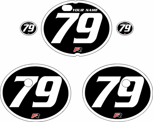 1979-1980 Suzuki RM250 Black Pre-Printed Backgrounds - White Bold Pinstripe by FactoryRide
