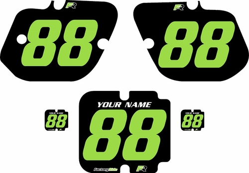 1987 Kawasaki KX125 Custom Pre-Printed Background Black - Green Numbers by Factory Ride