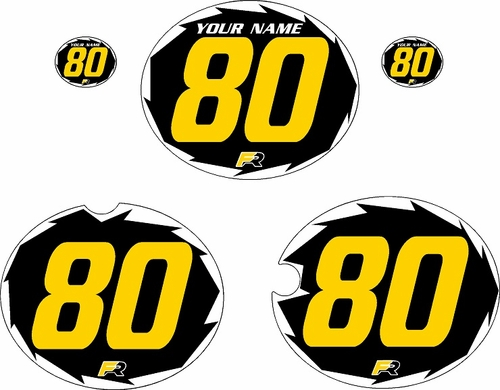 1980-1981 Yamaha YZ250 Pre-Printed Black Background - White Shock Series - Yellow Number by Factory Ride