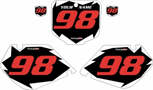 1997-1999 Honda CR250 Pre-Printed Backgrounds Black - White Shock - Red Numbers by FactoryRide