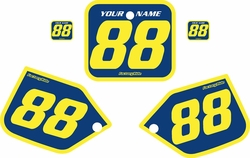 Fits Honda CR250 1987 Blue Pre-Printed Backgrounds - Yellow Bold Pinstripe by FactoryRide